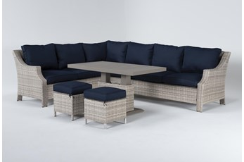 Chesapeake Outdoor Sectional, Adjustable Table And 2 Ottomans