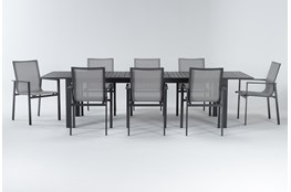 Ravelo Outdoor 9 Piece Extension Dining Set With Sling Back Chairs