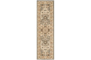 28X94 Rug-Ornate Tapestry Grey