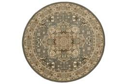 96 Inch Round Rug-Ornate Tapestry Grey