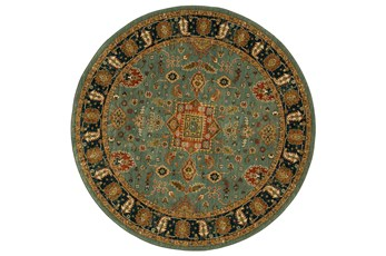 96 Inch Round Rug-Blooming Abstract Aquamarine