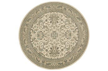 96 Inch Round Rug-Ornate Border Natural