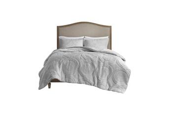 Full/Queen Comforter-3 Piece Set Plush Medallion Grey
