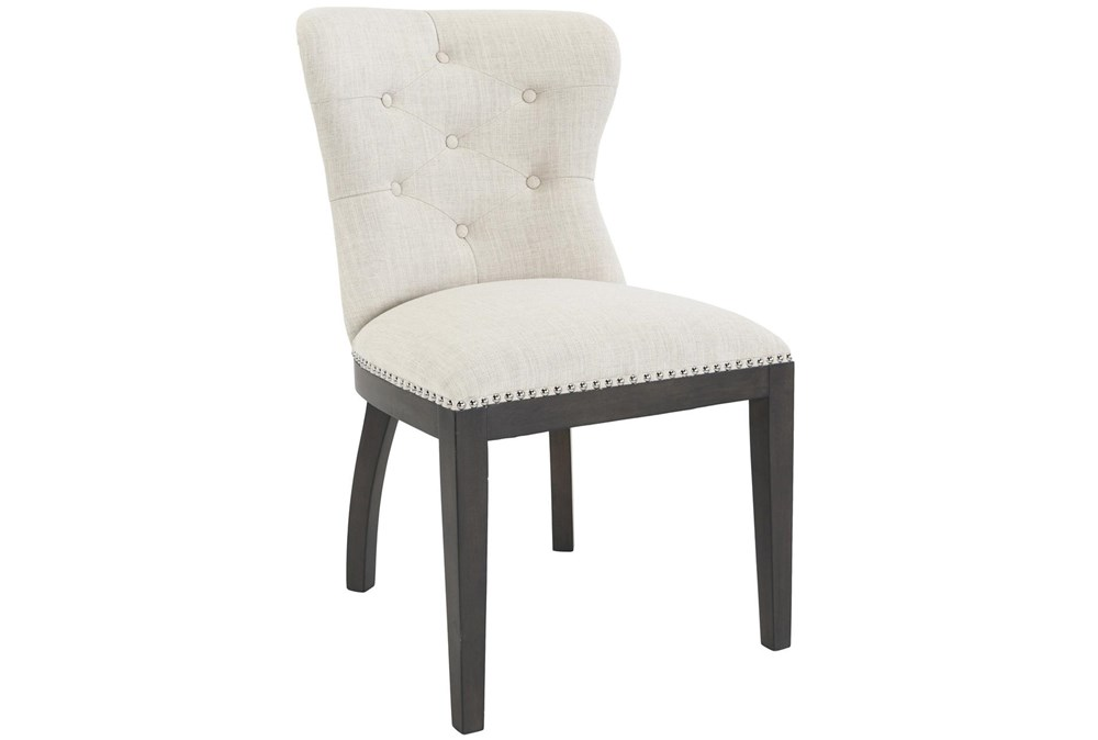 Cream Button Tufted Curve Back Upholstered Dining Chair With Nailhead Trim