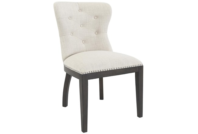 Cream Button Tufted Curve Back Upholstered Dining Chair With Nailhead Trim - 360